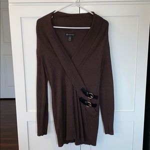 INC Brown Tunic with 2 Black Belt Details